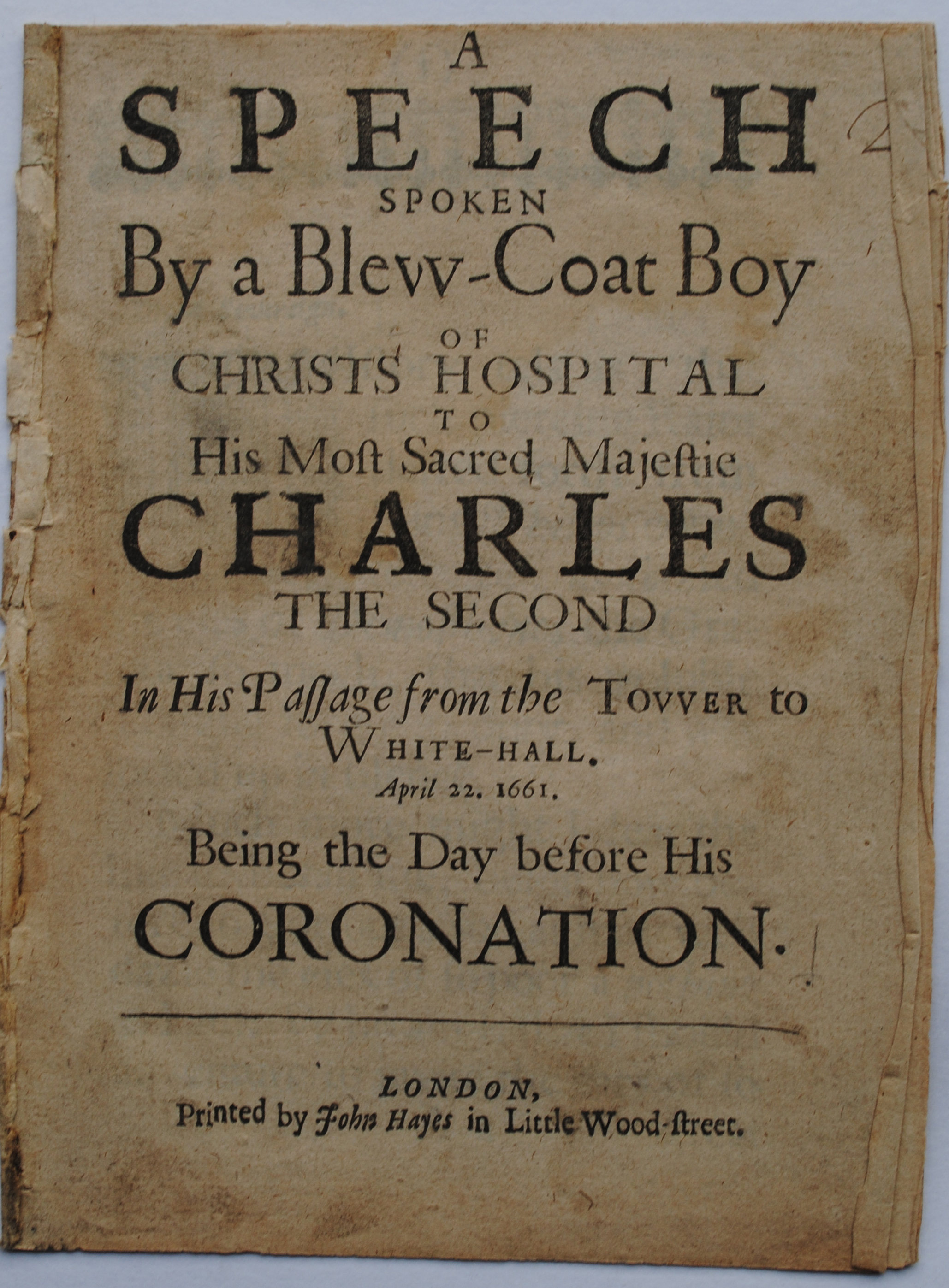 Loyal address to Charles II 1661