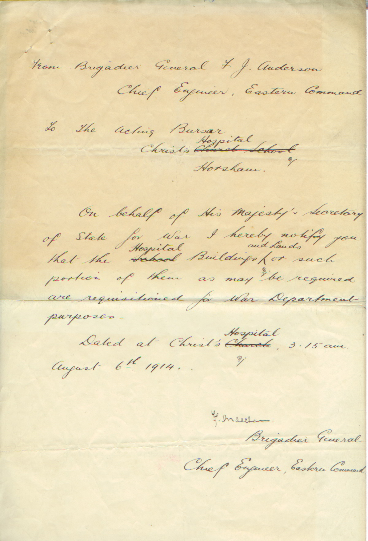 CH requisition 6 August 1914