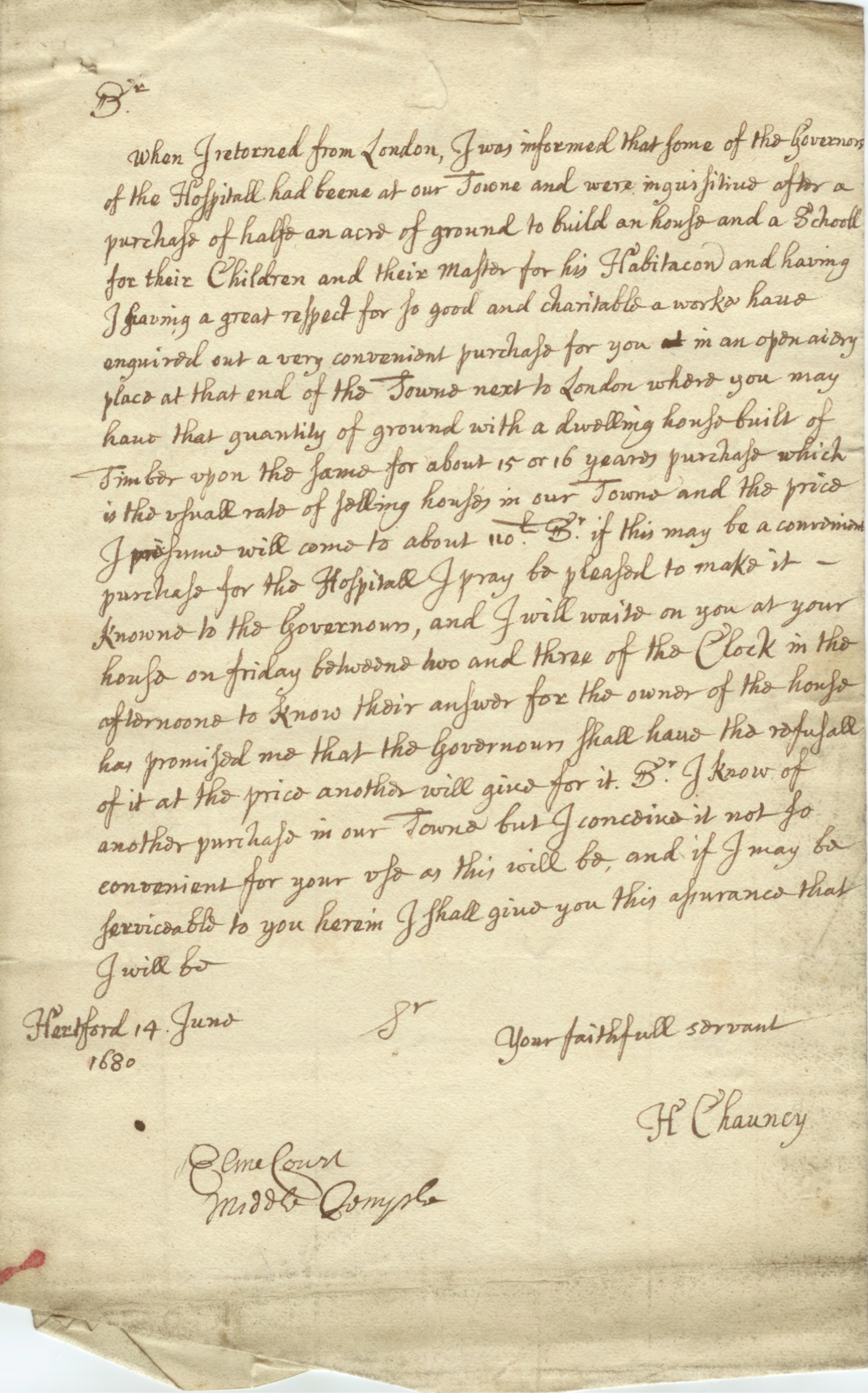 Letter from Sir Henry Chauncy 1680