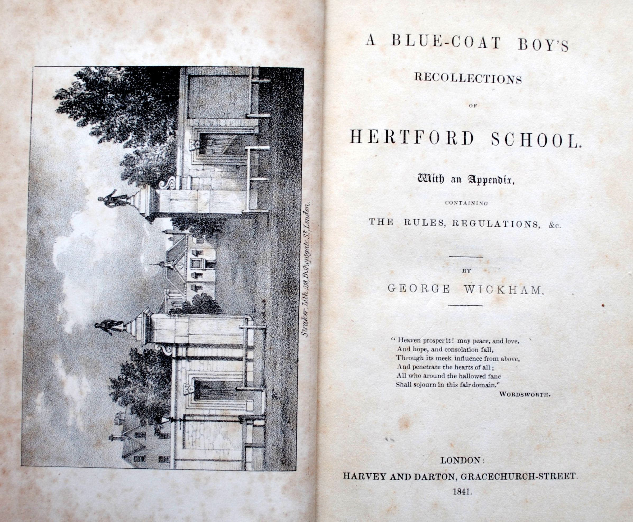 A Blue-coat Boy's Recollections of Hertford School 1841