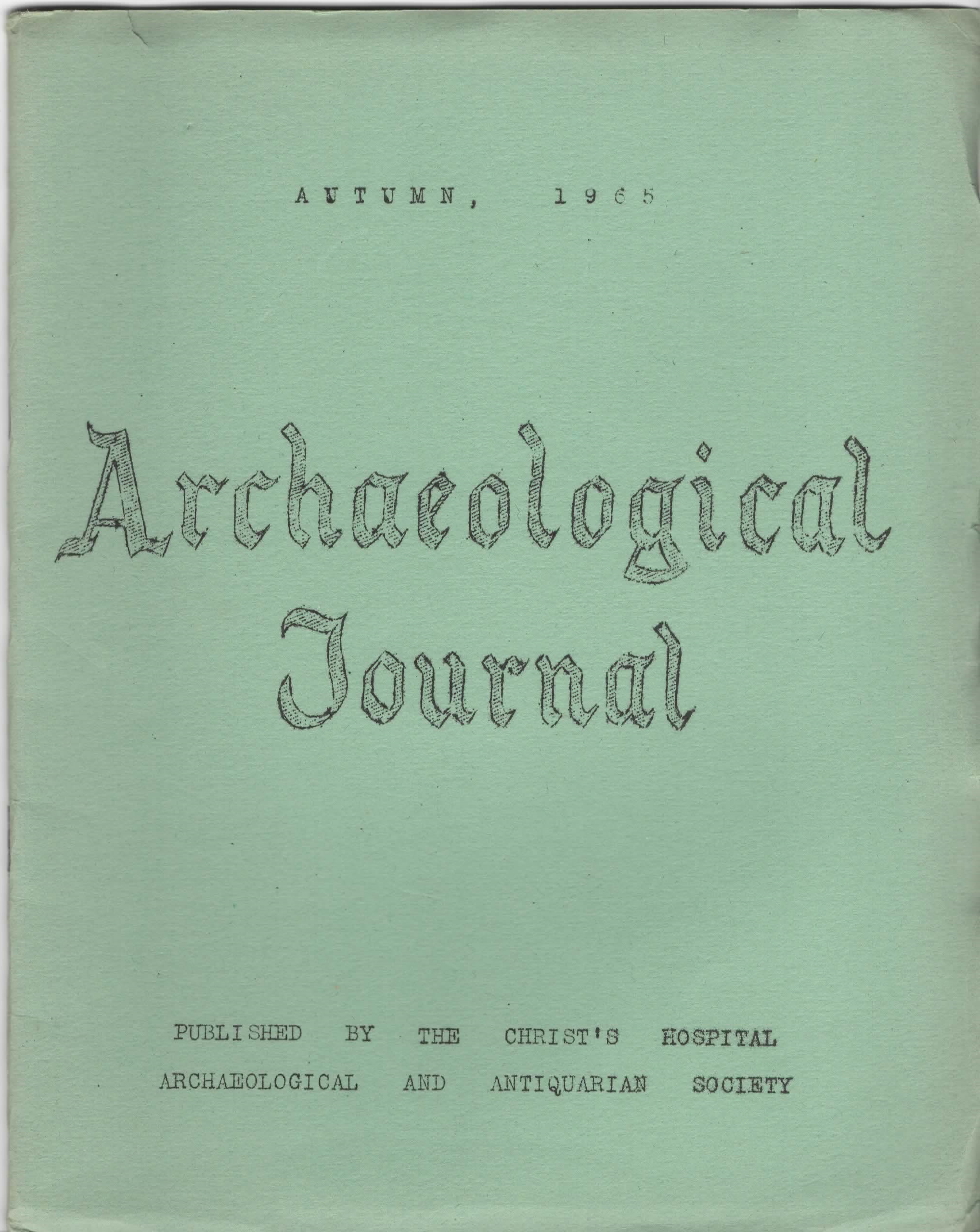 Archaeological Journal Autumn 1968